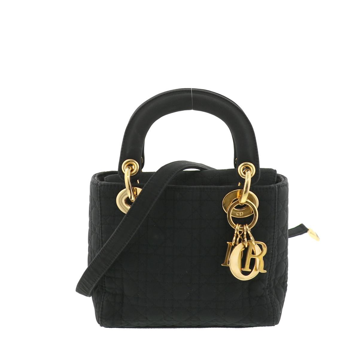 【中古】Christian Dior (クリスチャンディオール) レディディオール カナージュ ミニ 2WAY ハンド バッグ ハンドバッグ Black/ブラック used:B