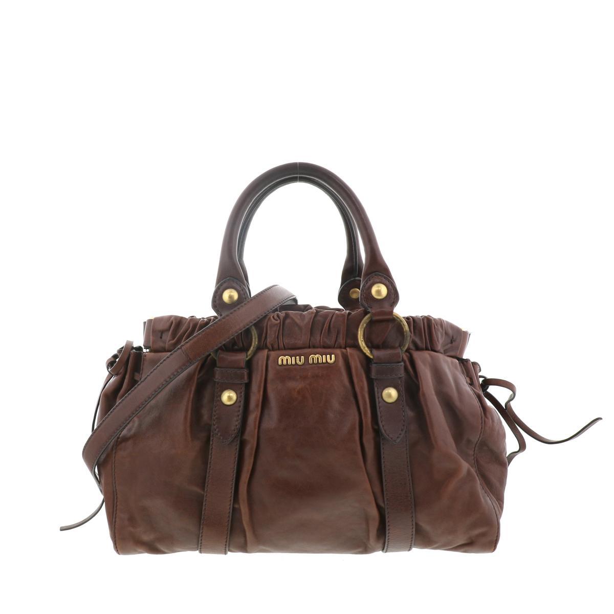 即日発送 ラッピング無料 MIUMIU ミュウミュウ ショルダーバッグ セール商品 メッセンジャーバッグ おすすめ特集 バッグ ハンドバッグ 2WAY Handbag 2WAY ブラウン 中古 Miu B USED: Brown Two-Way
