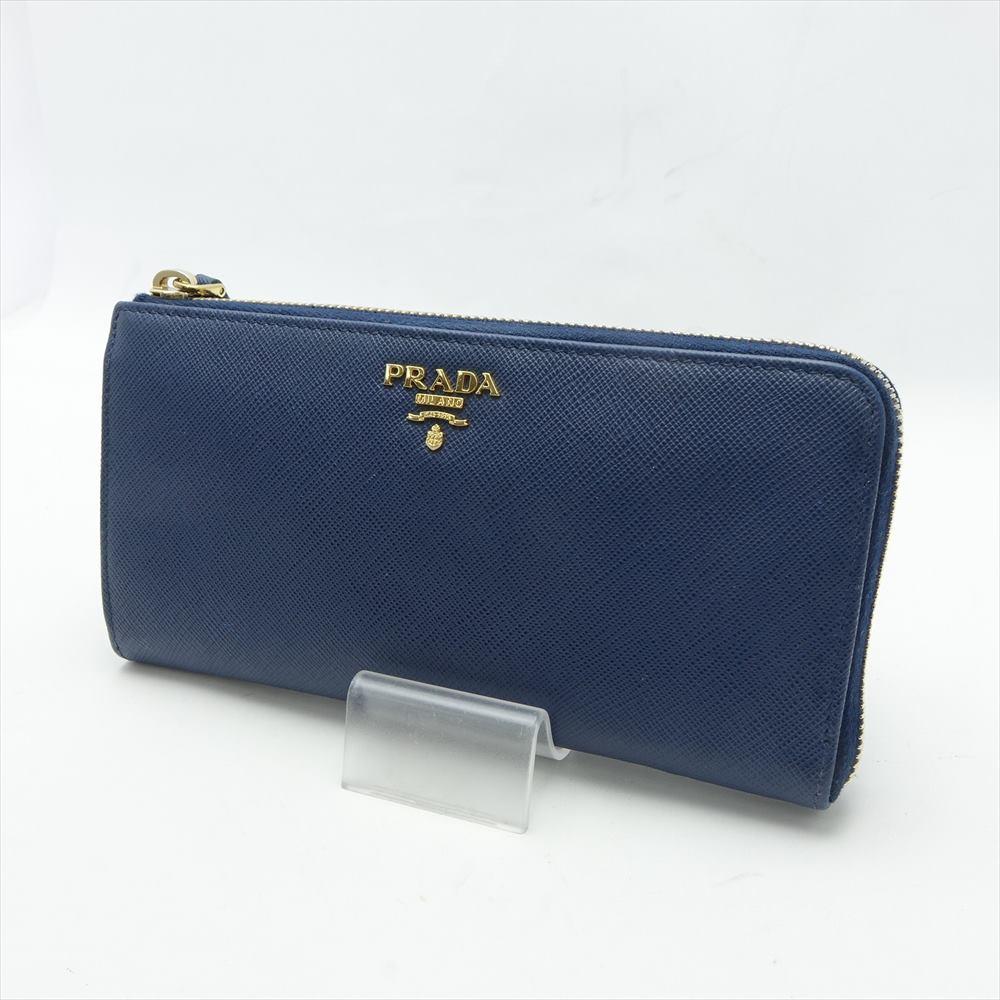 ◆◆【中古】PRADA  プラダ 長財布 レザー ネイビー 箱付