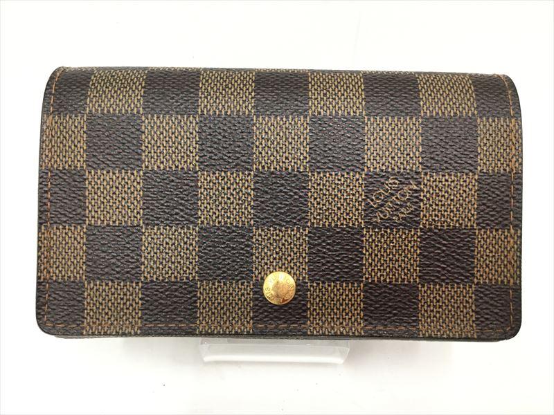 〇〇 中古 ルイヴィトン Louis Vuitton WEB限定 エベヌ ダミエ N61730 激安通販販売 二つ折り財布 ポルトモネビエトレゾール