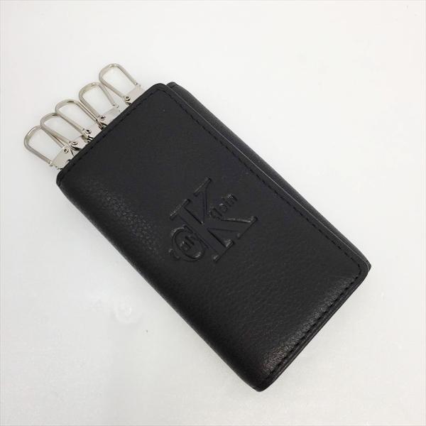 ☆☆【483】【中古】カルバンクライン Calvin Klein ロゴ 型押し 6連キーケース ブラック レザー 箱有 CK