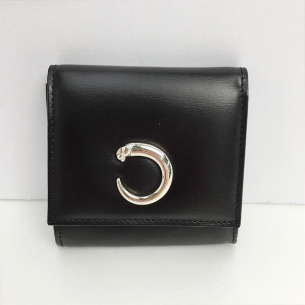 ☆☆【512】【中古】カルティエ Cartier コインケース パンテール ブラック×シルバー パンサー レザー 箱有