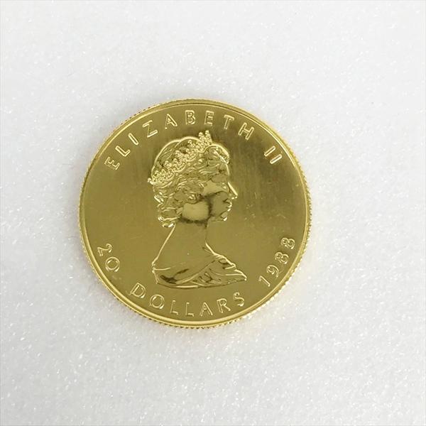 ☆☆ 064 正規認証品!新規格 中古 メイプルリーフ 金貨 1988年 1 コイン 約15.6g カナダ王室 K24 2オンス 低価格化 純金 箱有