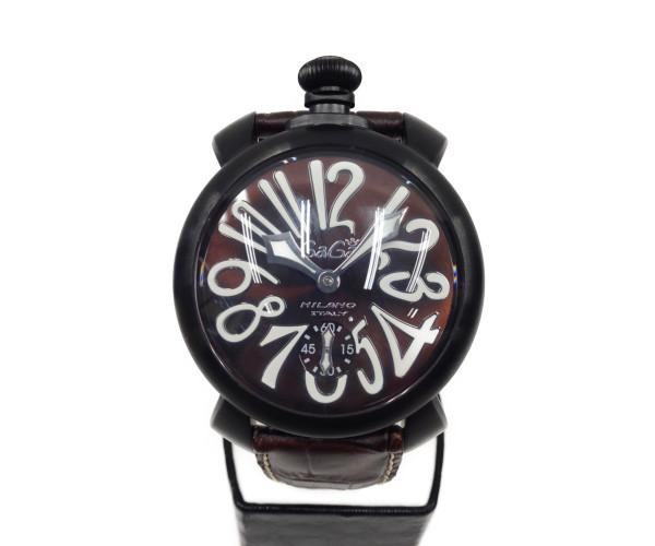 GaGa マヌアーレ マヌアーレ 48 手巻き SS×レザー 5012.04S ブラック×ダークブラウン MIRANO 〇〇【中古】ガガミラノ 腕時計