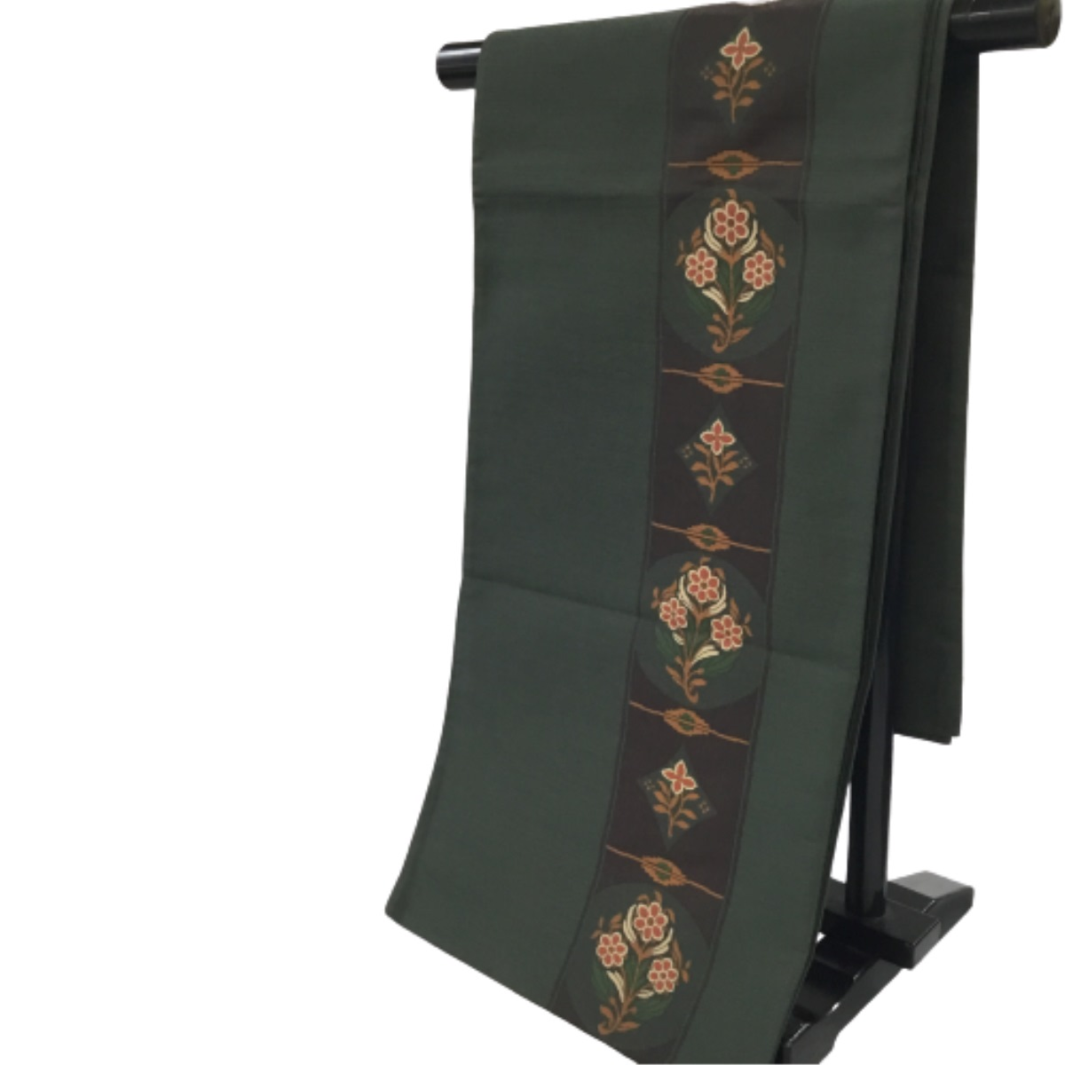 安い 中古 和装 4年保証 着物 帯 グリーン 縦柄 花 袋帯