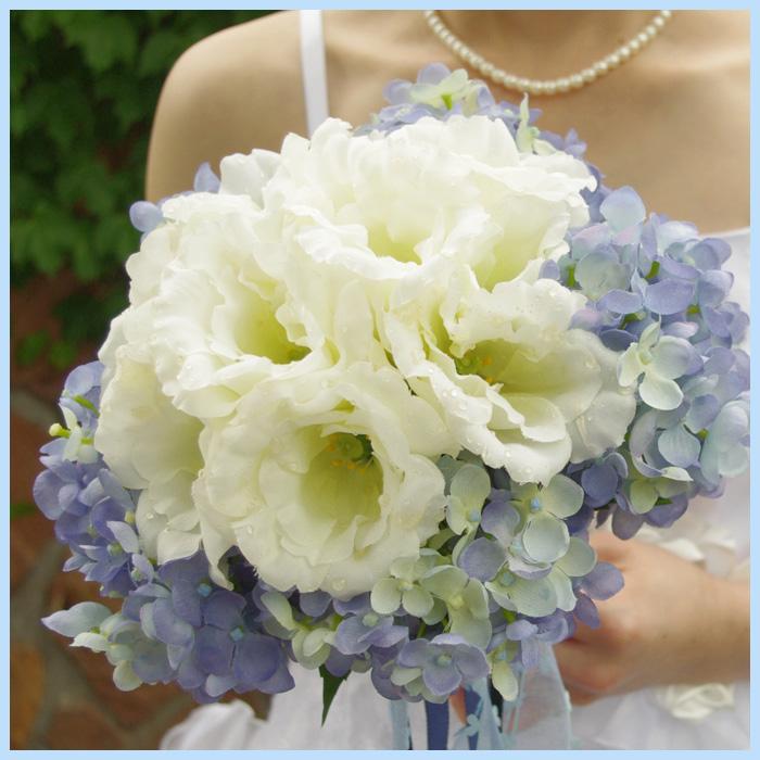 造花 トルコキキョウ・アジサイブーケ ブートニア ヘッドドレス 結婚式 ウェディングシルクフラワー アートフラワー 造花 写真撮り・お色直し ブライダル ブーケトス