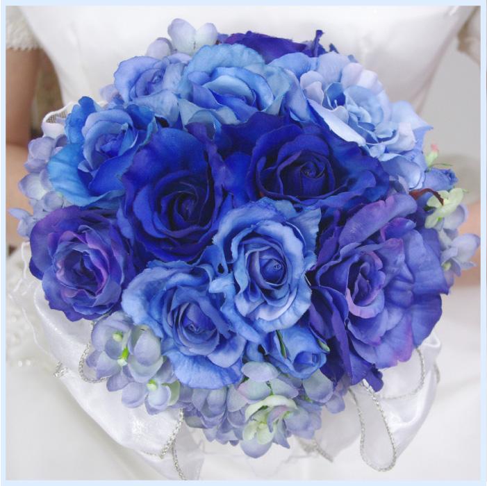 ■ブルーブーケ 造花 結婚式 ウェディング ブートニア ヘッドドレスシルクフラワー アートフラワー 写真撮り・お色直し ブライダル ブーケトス