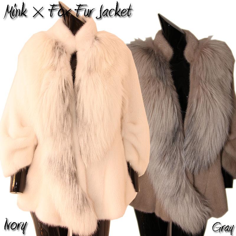 【OFF Price】ミンク×フォックス ファージャケット ファーコート 毛皮コート ミンクコート レディース ミンク