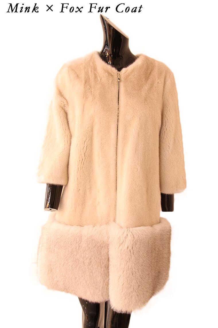 【OFF Price】フロントジッパーミンク×フォックスファーコート 毛皮コート ミンク ファーコート レディース ミンクコート