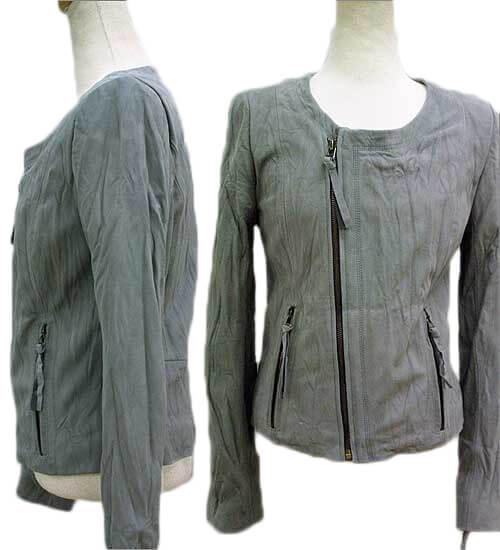 Round ウォッシングスウェード lamb leather jacket