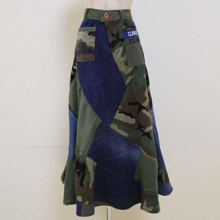オリジナル マーメイドスカート ミックス(デニム、迷彩柄、モスグリーン色)6