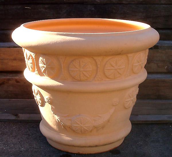 097ホワイトテラコッタ植木鉢