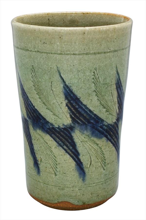 【作家/加藤唐三郎】【瀬戸/赤津焼/あかづやき】【フリーカップ/ロングカップ/湯呑】御深井斜め彫フリーカップ※お湯呑は長時間お湯等水分を入れたままにしないでください。まれに染み出ることがございます。