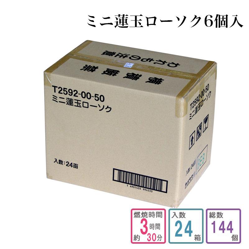 ローソク ミニ蓮玉ローソク 6個入り 1ケース箱入り(144個入り)蝋燭 ろうそく ケース買い 箱売り まとめ買い 業務用 寺院用