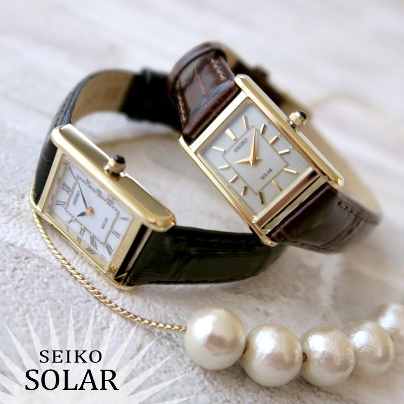 SEIKO 腕時計 レディース ソーラー 革ベルト 海外モデル アンティーク風 ブラック/ブラウン/ゴールド SUP250 SUP252 人気の海外モデル 【正規品】