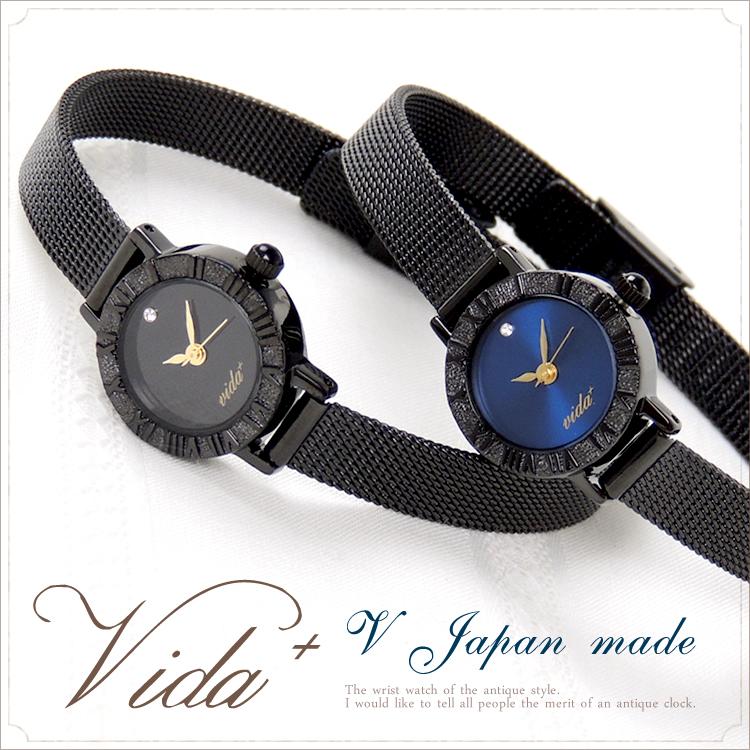 VIDA+ Japan vintage レディース腕時計 ブラック〈 ビーダプラス スワロフスキーモデル 〉腕時計 レディース かわいい 時計 アンティーク チェーンベルト 華奢 入社祝い 入学祝い 誕生日 プレゼント ギフト 人気 おすすめ