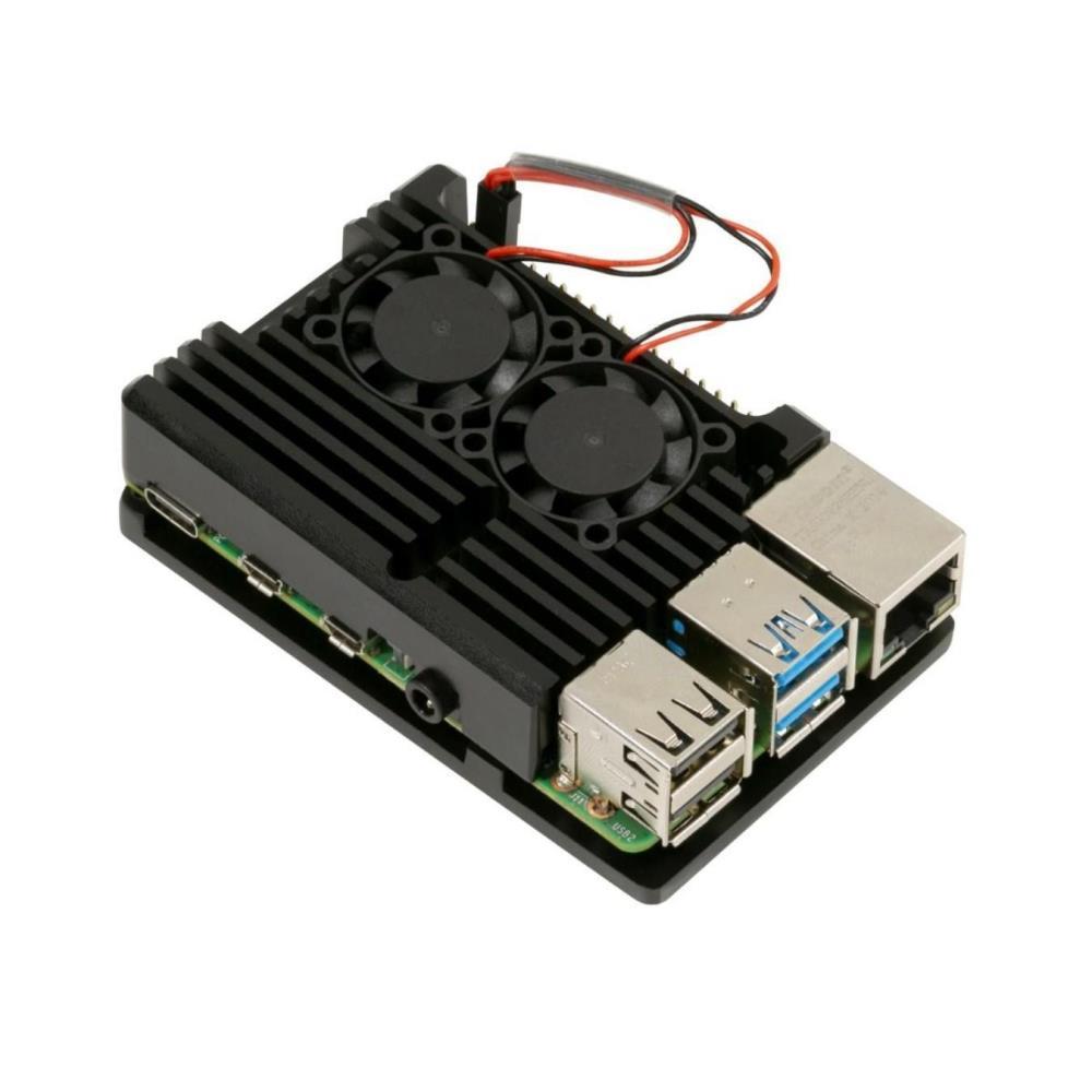 価格交渉OK送料無料 Raspberry Pi4用 デュアル冷却ファン 当店一番人気 ヒートシンク付きアルミニウム合金アーマーケース