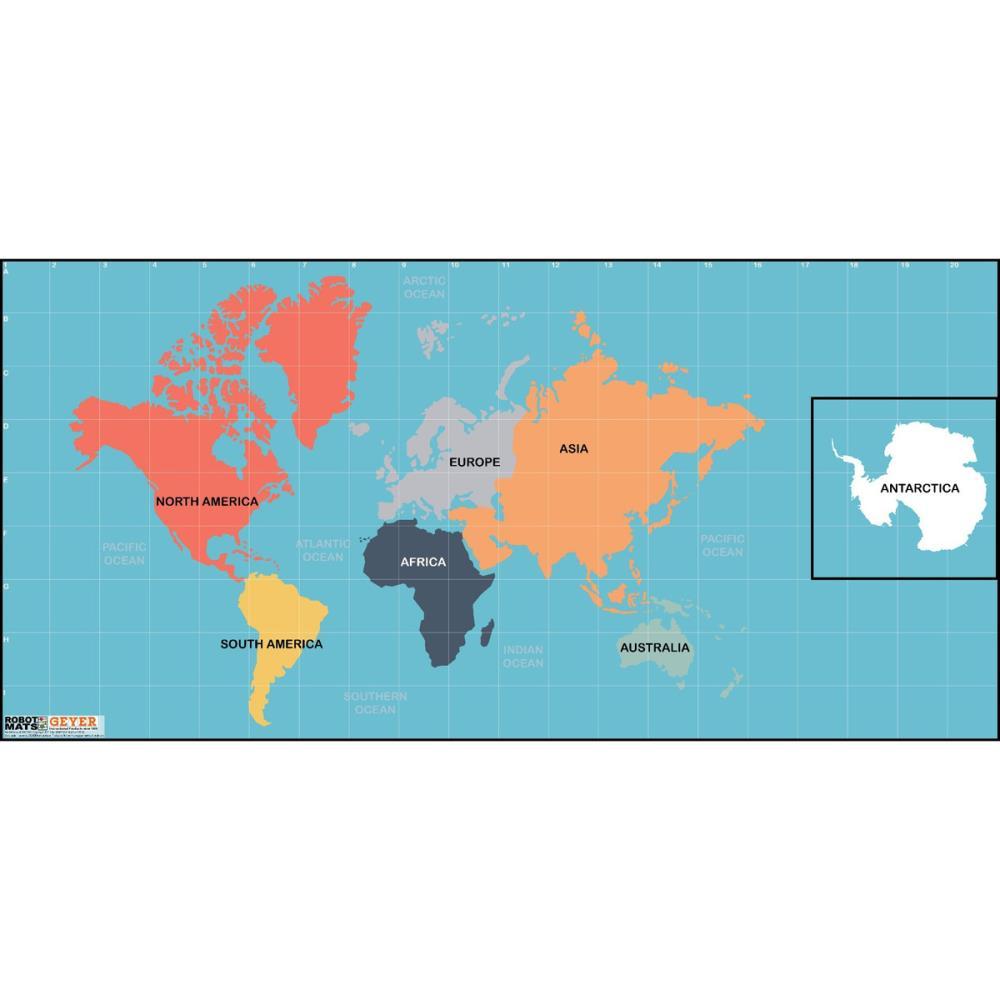エンバイロンメントマット:世界大陸 グリッド付きマット(FLLサイズ)
