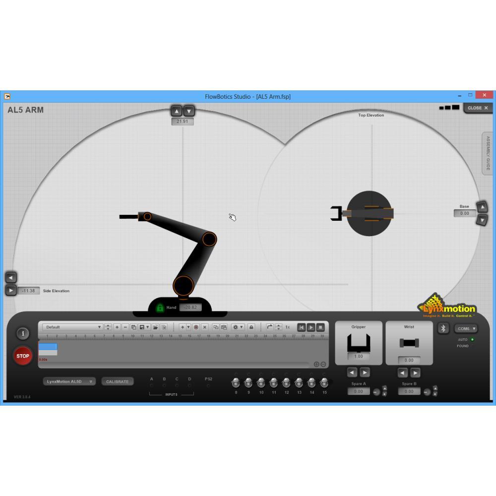 Lynxmotion AL5D 4DOFロボットアームSSC-32Uコンボキット(FlowBotics Studio)