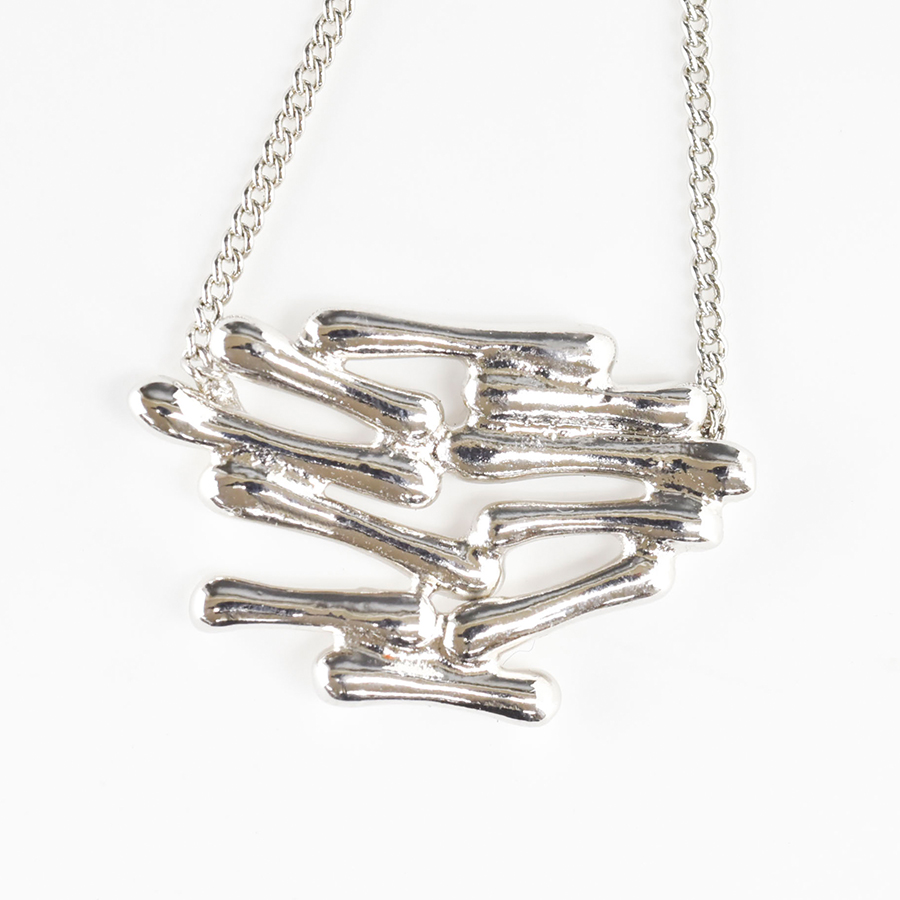 【今だけポイント20倍】【builderino】小枝ネックレス ネックレス 真鍮 洋白/小枝 /ロジウム シルバー 銀/約43cm+アジャスター約5cm/アクセサリー