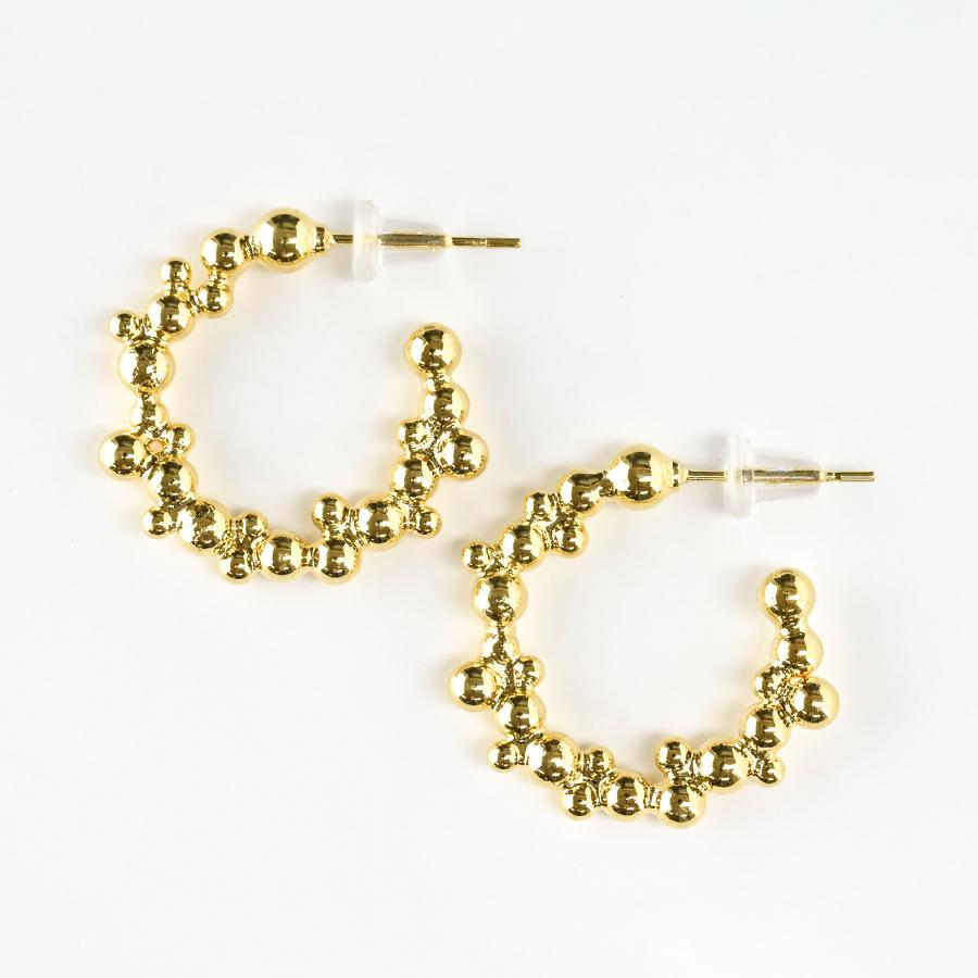 【builderino】つぶフープピアス ピアス 真鍮 ステンレスシリコン/つぶ /ゴールド 金 /約20mm×20mm/アクセサリー