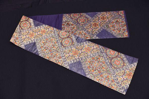 HS26227M★正倉院華紋 袋帯 紺帯 装飾 鮮やか 和服 和装 未使用 美品 良品 着物