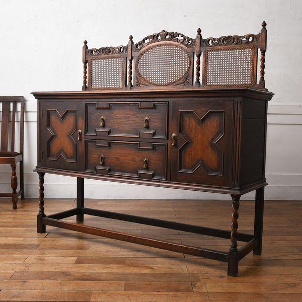 IZ34219O★英国 アンティーク サイドボード 木彫刻 引き出し オーク キャビネット カップボード 食器棚 飾り棚 木製 クラシック イギリス
