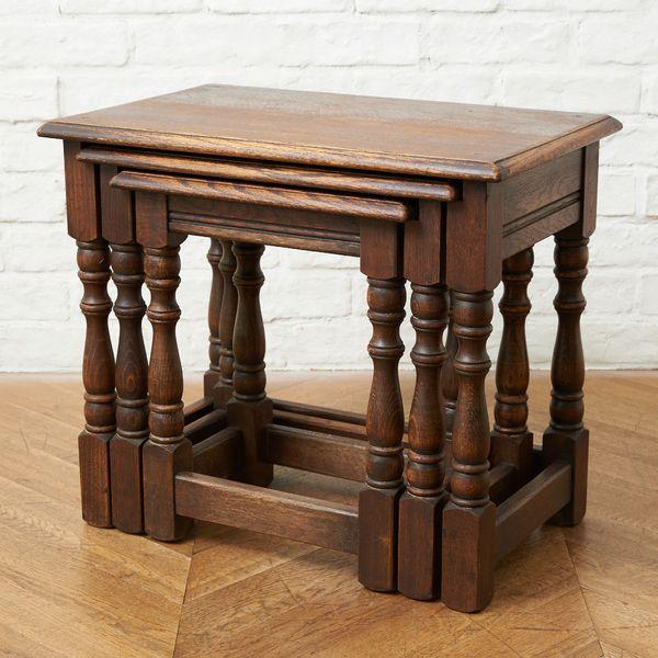 IZ37864I★イギリス Bevan Funnell Reprodux ネストテーブル オーク 英国 アンティーク クラシック スタイル 飾り台 花台 サイドテーブル