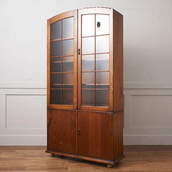IZ38318C★英国 アンティーク ブック キャビネット オーク 天然木 ガラス ブックケース 飾り棚 本棚 ディスプレイ 書棚 キャスター 木製