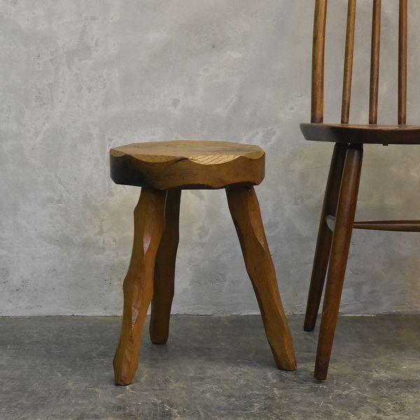 IZ39042I★イギリス 古い木製 スツール 厚手 無垢材 オーク プリミティブ ナチュラル 椅子 サイドテーブル 花台 飾り台 英国 ヴィンテージ