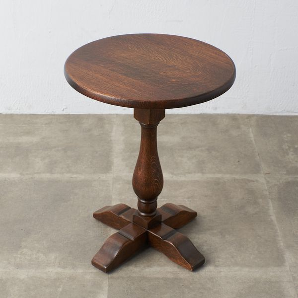 IZ39291A★英国 アンティーク スタイル ワインテーブル 無垢材 オーク ラウンド ナイトテーブル サイドテーブル 花台 円形 木製 イギリス