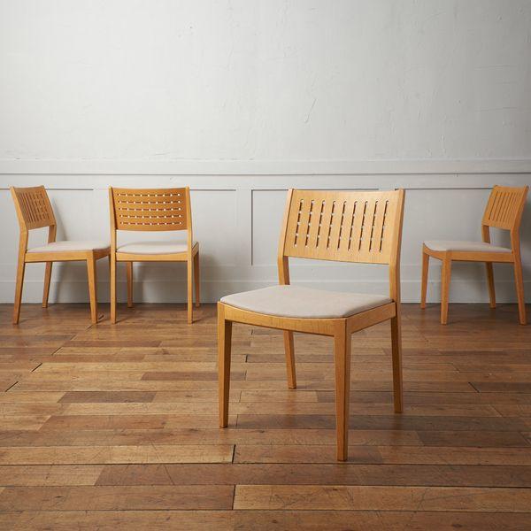 IZ39475C★張替済 定20万~ 4脚セット カンディハウス HANACO ダイニング サイドチェアー 三井 緑 CONDEHOUSE ハナコ チェア オーク 椅子