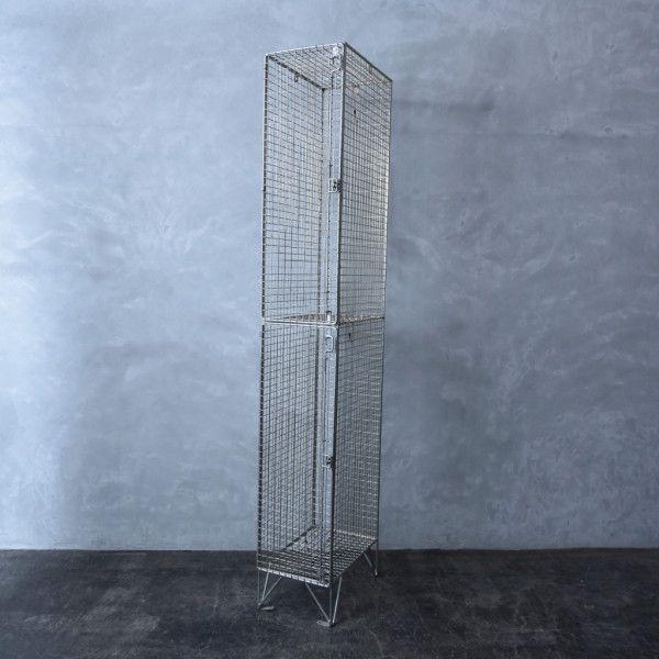 IZ39560I★イギリス ヴィンテージ ワイヤー メッシュ ロッカー 工業系 インダストリアル シャビー 飾り棚 ビンテージ ディスプレイ