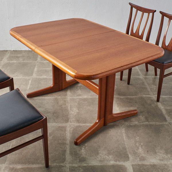 IZ40111I★デンマーク製 エクステンション ダイニングテーブル チーク 北欧 ヴィンテージ ビンテージ ウッド 木製 伸長 拡張 W130-175cm
