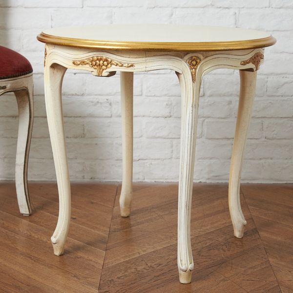 IZ40660C★ヨーロピアン クラシック サイドテーブル ラウンド 丸 テーブル 机 木彫刻 猫脚 アンティーク スタイル シャビーシック 西洋