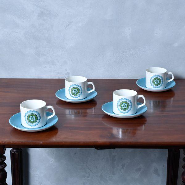 IZ40684I★4客セット J&G MEAKIN カップ & ソーサー 英国 ヴィンテージ ミーキン 花柄 水色 UK イギリス ヴィンテージ コーヒーカップ