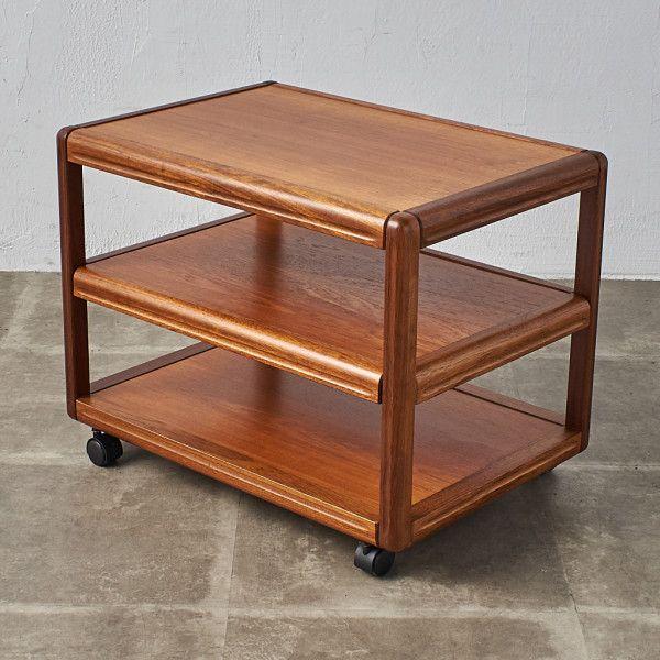 IZ40991I★デンマーク製 ティートロリー スライド棚 チーク 北欧 ヴィンテージ ワゴン キッチン キャスター 可動式 木製 サイドテーブル