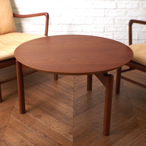 アンティーク ヴィンテージインテリアショップRoccaより厳選されたセレクトアイテムをお届け IZ41741I 美品 北欧 デンマーク PJ furniture センターテーブル 18%OFF マホガニー ラウンドテーブル 公式ショップ ローテーブル コーヒーテーブル 円形 丸