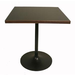 スリムカフェテーブル 黒メラミン天板 四角形 正方形(ブラック スタイリッシュ ダイニングテーブル 2人用 リビング 家具 天然木 セミオーダーメード シンプル ナチュラル 北欧一人暮らし 二人暮らし ミッドセンチュリー インダストリアル モダン 商業家具)