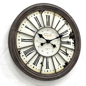 【送料無料】ルーブル・ラージクロック (BX-92) (壁掛け時計・カフェ 雑貨 アンティーク 雑貨 大きい 古い時計 フランス パリ 店舗 ディスプレイ 美術館 レトロ ブロカント シャビー クラシック 大型 什器 とけい)