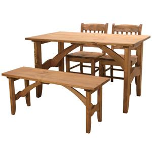 【送料無料】cafe style カフェスタイル ダイニング 4点セットナチュラル カントリー 食卓台 家具 インテリア 木目 ダイニング パイン材 天然木 テーブル 椅子 チェア ベンチ ダイニングセット カントリー調