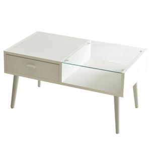 【送料無料】カフェテーブル ホワイト ガラス センターテーブル(収納 センターテーブル リビング シンプル ナチュラル 北欧 モダン 見せる収納 木製 ガラステーブル 白)