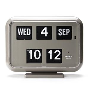 【送料無料】Twemco Digital Calendar Clock #QD-35 トゥエンコデジタルカレンダークロック グレー(置き時計 掛け時計 壁掛け時計 シンプル 卓上 インテリア 男性ギフト プレゼント 新生活 フリップ時計 レトロクロック パタパタ時計)