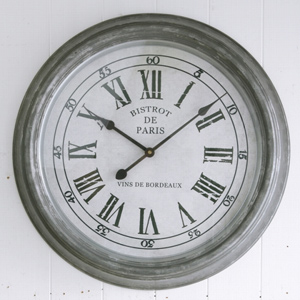ブリキ ウォールクロック L (BR-32)(壁掛け時計 フレンチカントリー カフェ雑貨 シャビー カフェ パリ 小物 壁掛け クロック 時計 アンティーク ジャンク アンティーク雑貨 シンプル おしゃれ)
