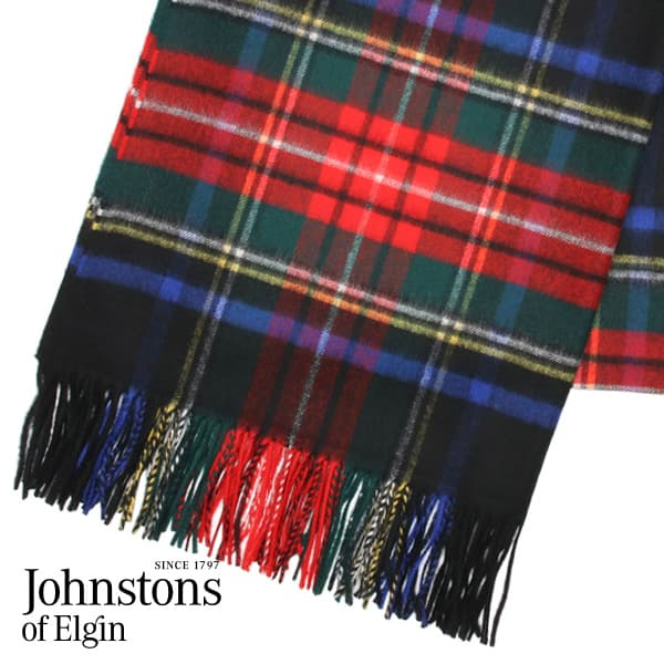 JOHNSTONS ジョンストンズ カシミア ストール タータンチェック ブラックスチュワート 190×70cm BLACKSTWT WA000056 KU0324