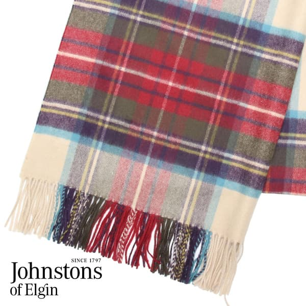 JOHNSTONS ジョンストンズ カシミア ストール 大判 タータンチェック ヘシアンドレススチュワート 190×70cm WA000056-KU0010