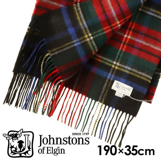 JOHNSTONS ジョンストンズ カシミア スカーフ マフラー タータンチェック ブラックスチュワート 190×35cm WA000057-KU0324
