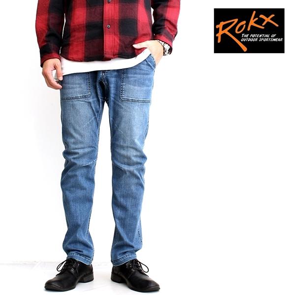 Rokx ロックス DENIM FATIGUE PANT クライミングパンツ デニムファティーグパンツ ストレッチデニム スリム テーパード パンツ ジーパン ジーンズ デニムパンツ ユーズド加工 色落ち加工 イージーパンツ 細身 カジュアル アウトドア アメカジ トラッド (66-rxms191008)