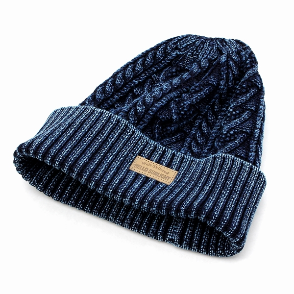 d9f9a108a7d  the cotton knit hat which I finished by indigo dyeing and cable knitting  expressively