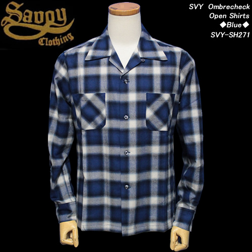 SAVOY CLOTHINGサボイクロージング◆SVY OmbrecheckOpen Shirts◆◆BLUE◆SVY-SH271